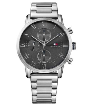 Tommy Hilfiger Men S Chronograph Stainless Steel Bracelet Watch 44mm Silver Tommy Hilfiger Watches Watches For Men Mens Chronograph