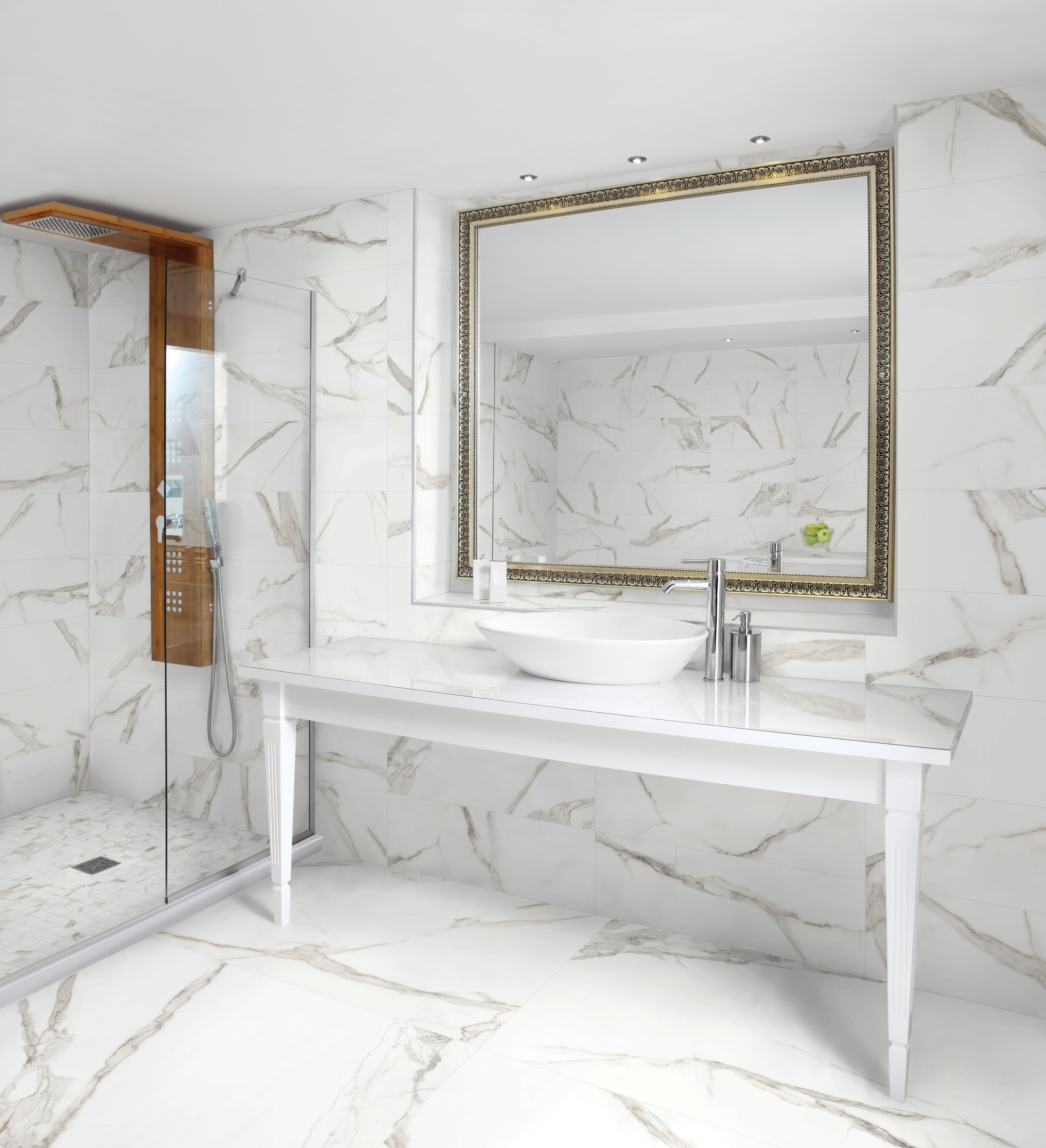 Mayfair Calacatta Available In Polished And Matte Rectified Porcelain Available I Porcelain Tile Bathroom Bathroom Remodel Pictures Gray And White Bathroom
