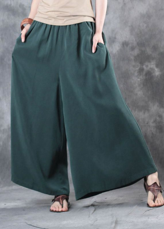 2017 blackish green casual silk pants plus size elastic waist wide ...