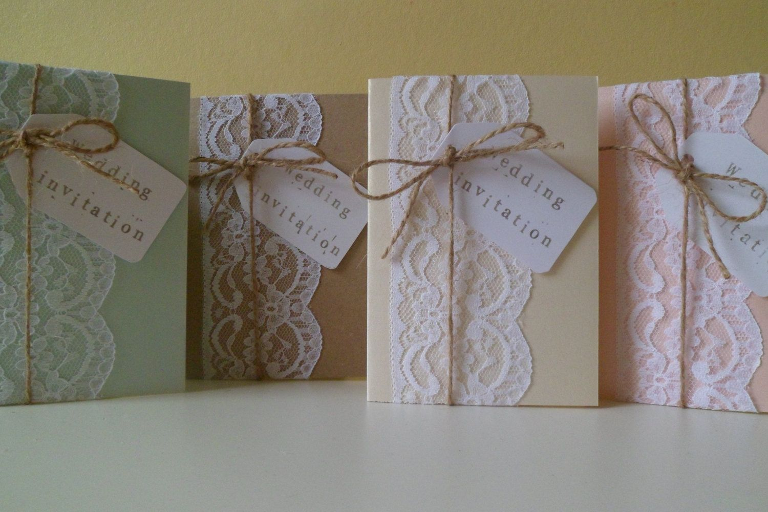 Handmade Vintage Lace Wedding Invitation Sample by OloveDesigns, £2.50