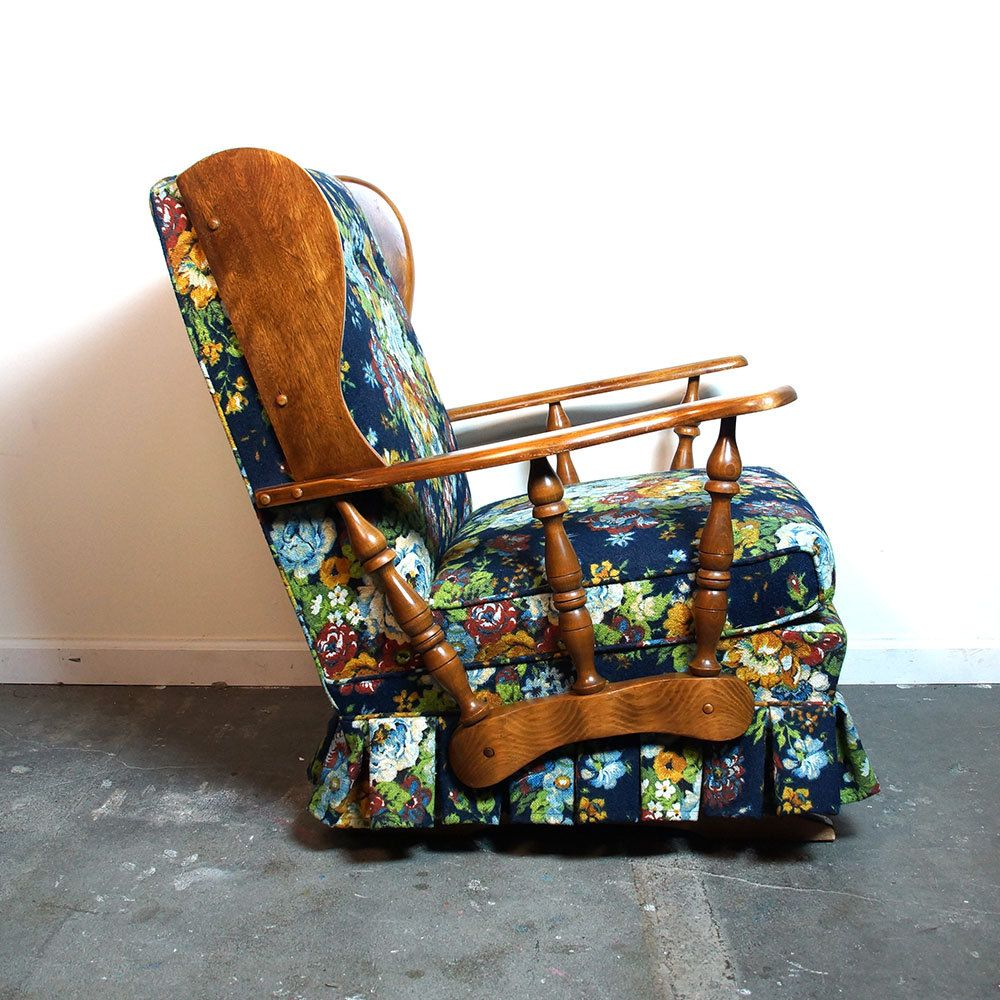 Antique upholstered rocking chairs - Mid Century Rocker Vintage 1960s Floral Upholstered Platform Rocking Chair Wingback Wagon Wheel Arm
