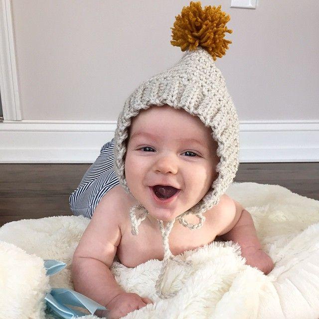 Knitting Nannies Pom Pom bonnets