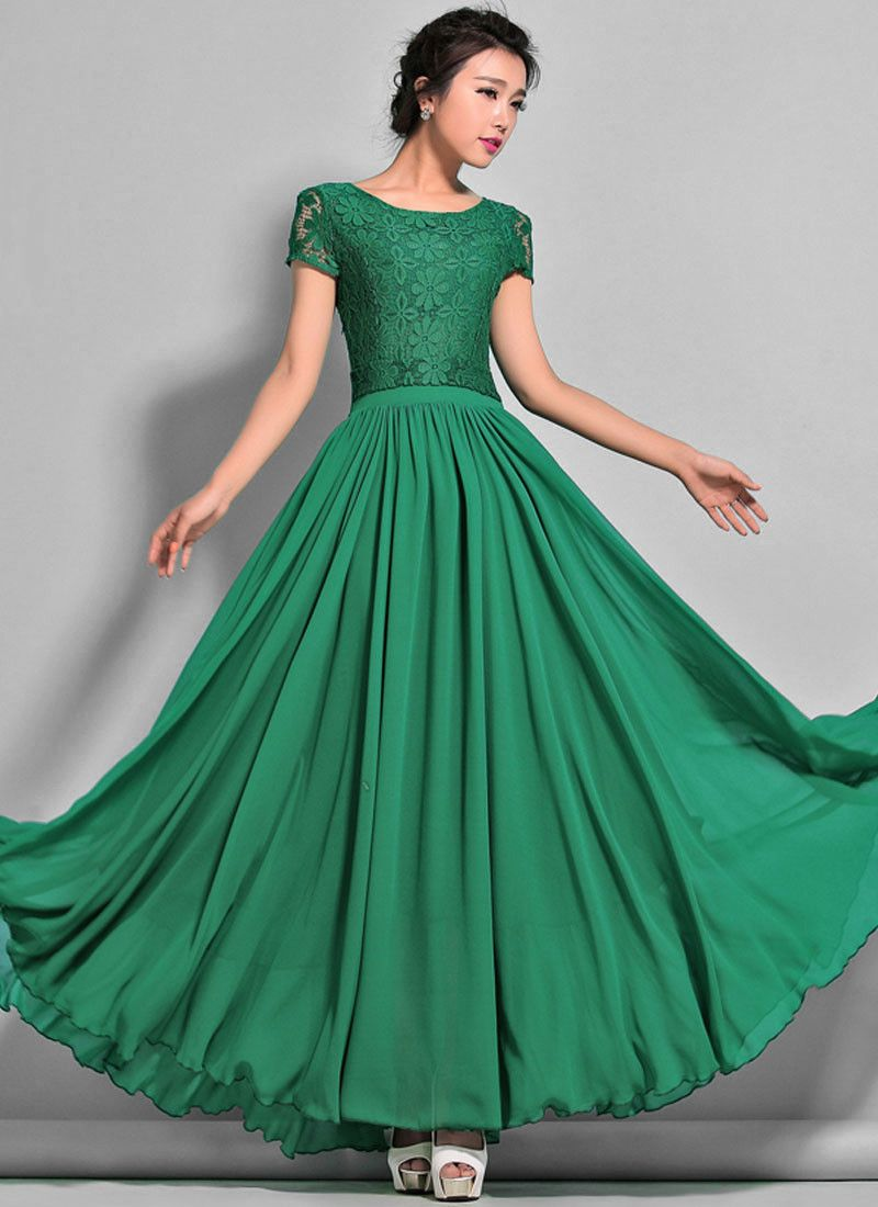 A Special Sale for June - 35% off Emerald Green Lace Chiffon Maxi ...