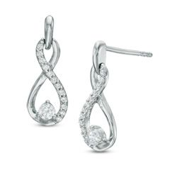 T W Diamond Infinity Drop Earrings In 10k White Gold