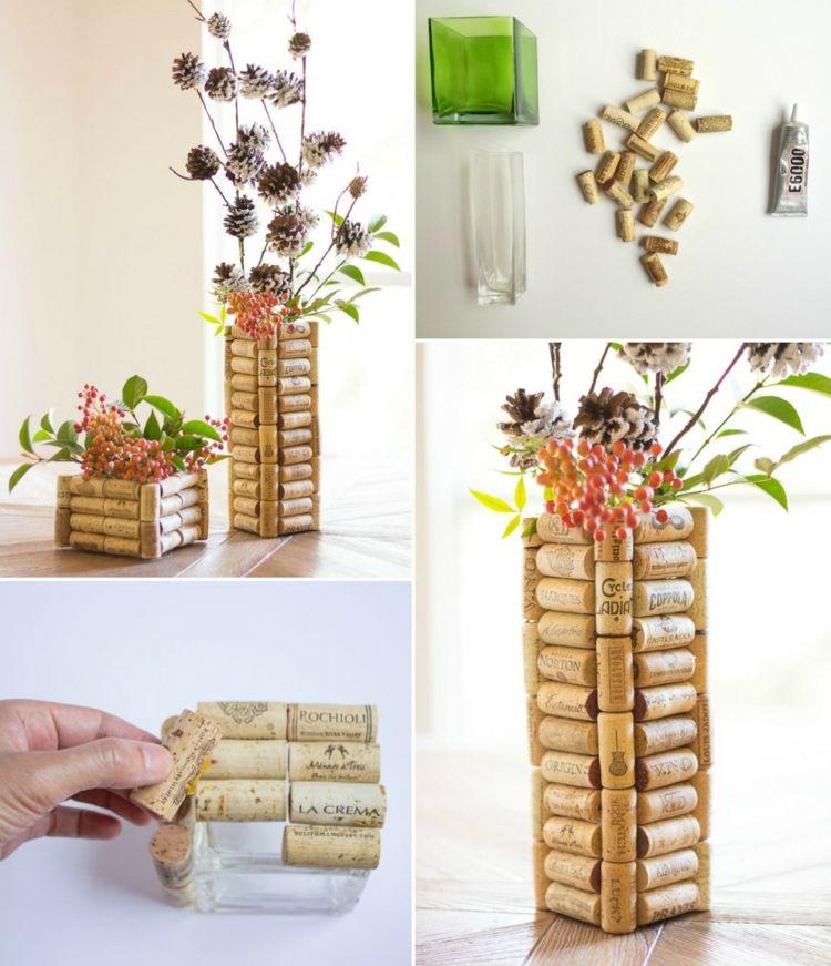 dekorationen aus korken basteln h bsche vasen basteln basteln mit kork basteln und korken. Black Bedroom Furniture Sets. Home Design Ideas