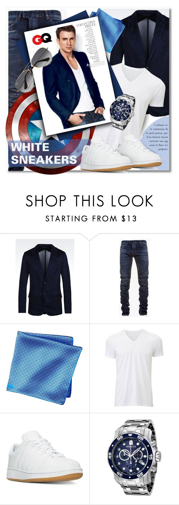 """""""Captain America"""" by petri5 ❤ liked on Polyvore featuring Armani Jeans, Balmain, Uniqlo, K-Swiss, By Terry, Invicta, Ray-Ban, men's fashion and menswear"""