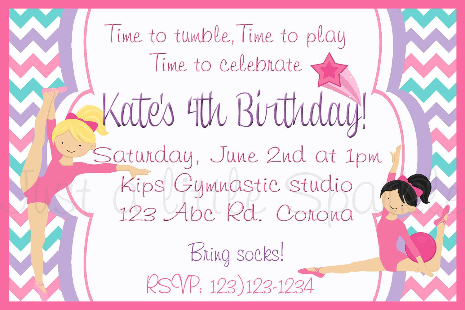 Gymnastic Invitation, Gymnastics Party, Gymnastic birthday ...