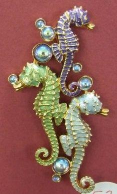 copper patina Seahorse Brooch