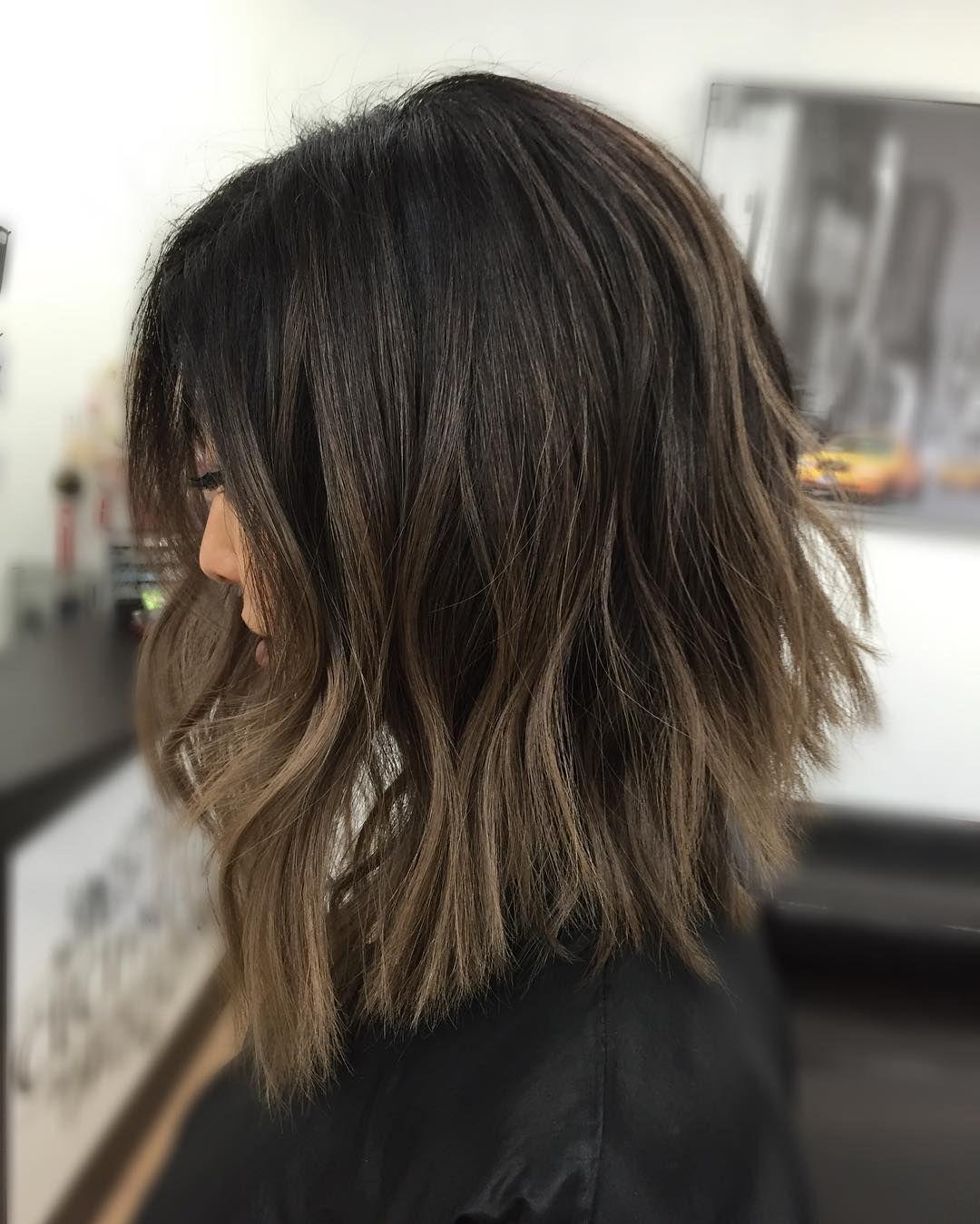 Dark Brown Hair With Ash Brown Balayage Short Hair Balayage Hair Styles Brown Hair Balayage