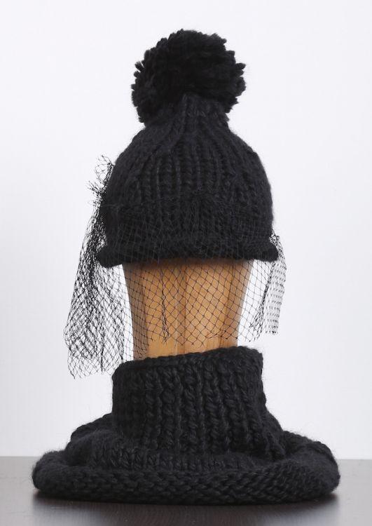 rundholz - Mütze Handmade mit Bommel und Tüll black - Winter 2017 - stilecht…