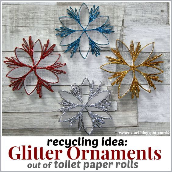 Recycling Idea Glitter Ornaments out of toilet paper rolls toilet