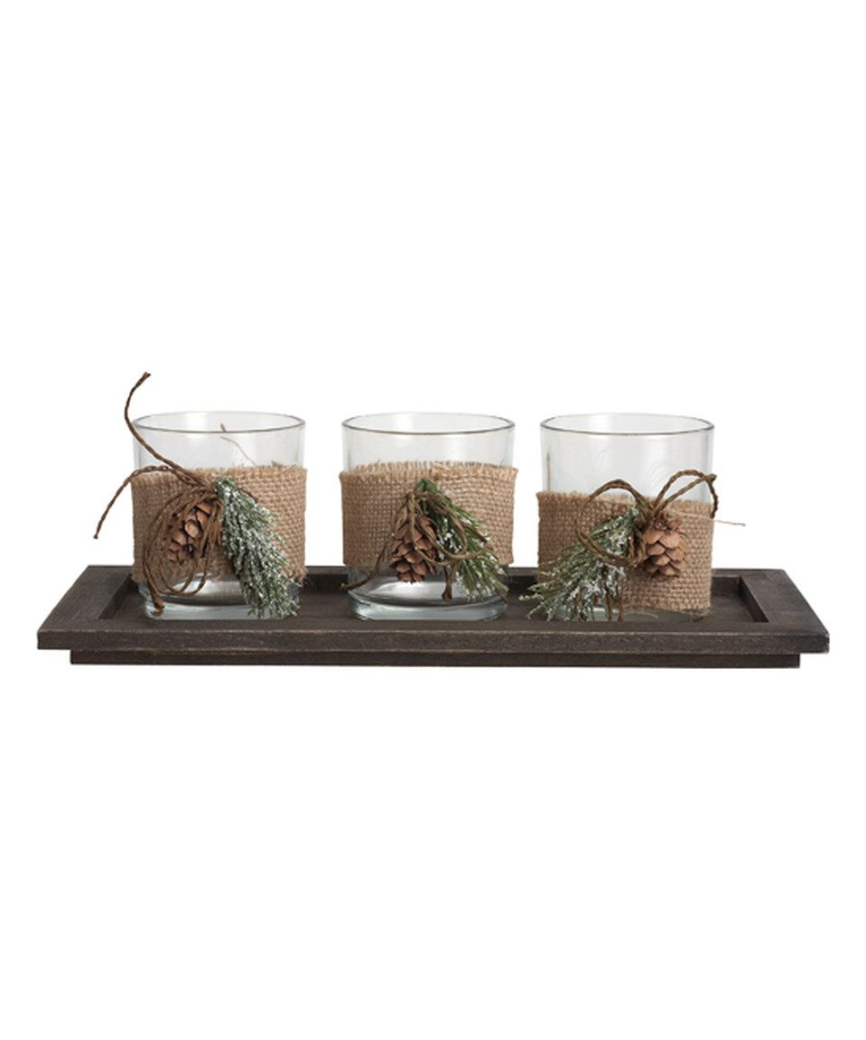 Wedding tray decoration ideas  Love this Rustic Glass Votives u Tray Set by Transpac Imports on