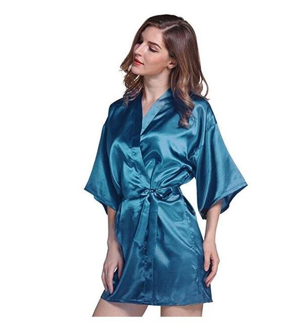 Silk Satin Wedding Bride Bridesmaid Robe Floral Bathrobe Short ...