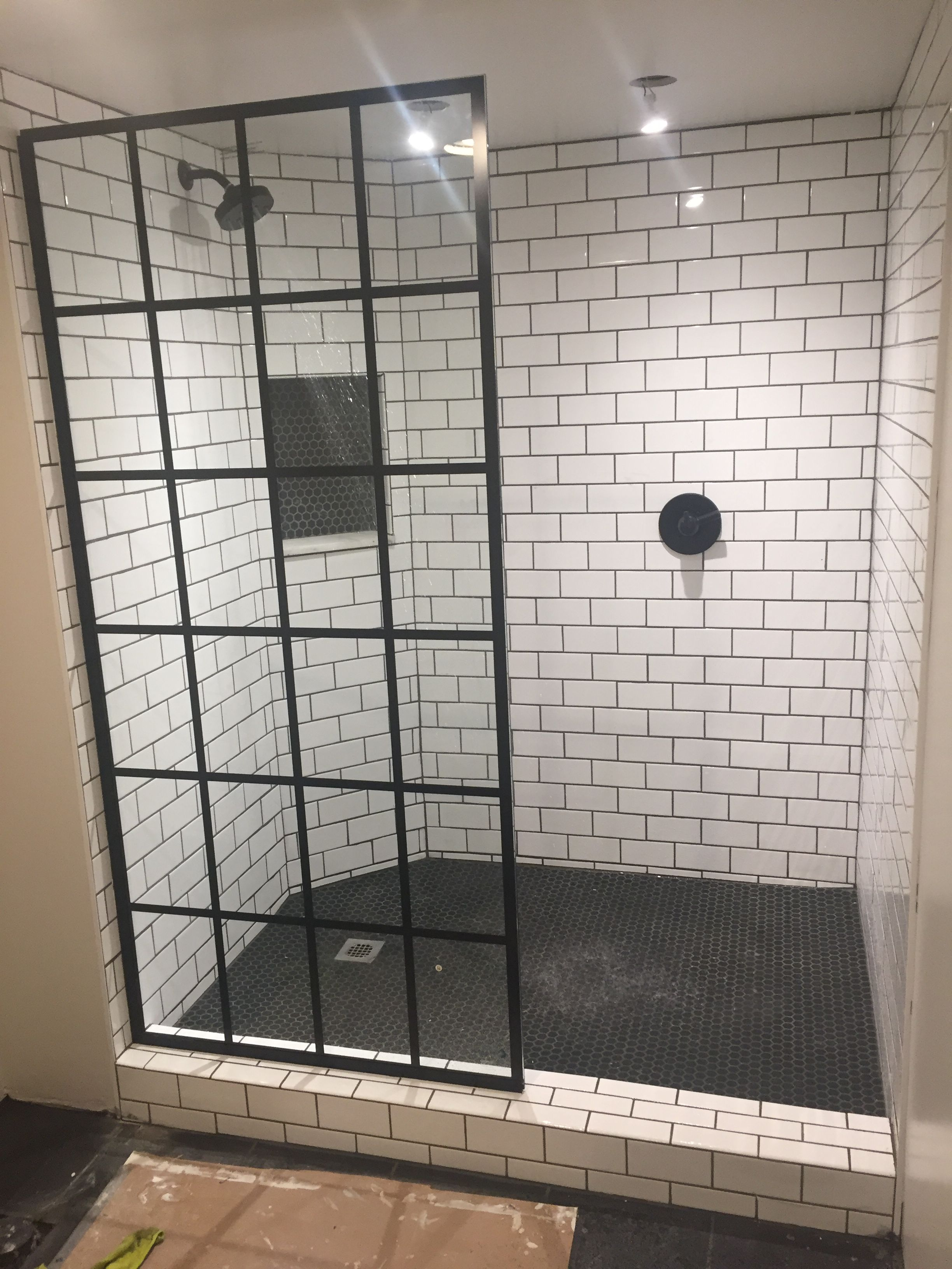 diy shower pan subway tile hex tile