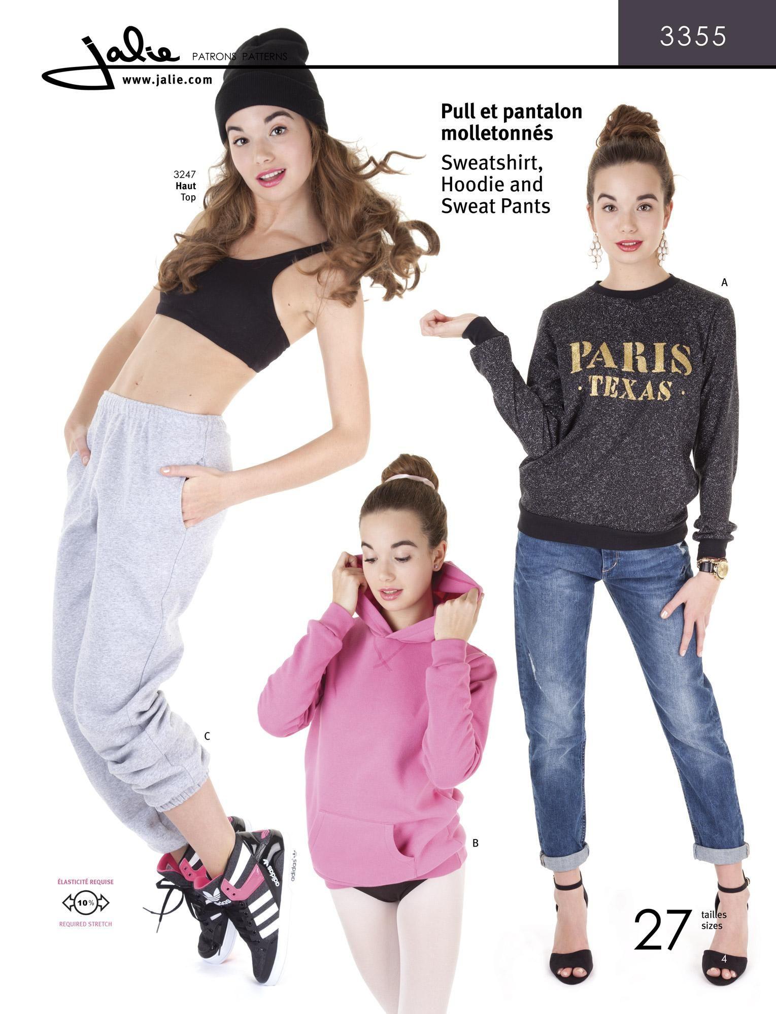 Jalie 3355 - Sweatshirt, sweat pants, hoodie | moda teen girls ...