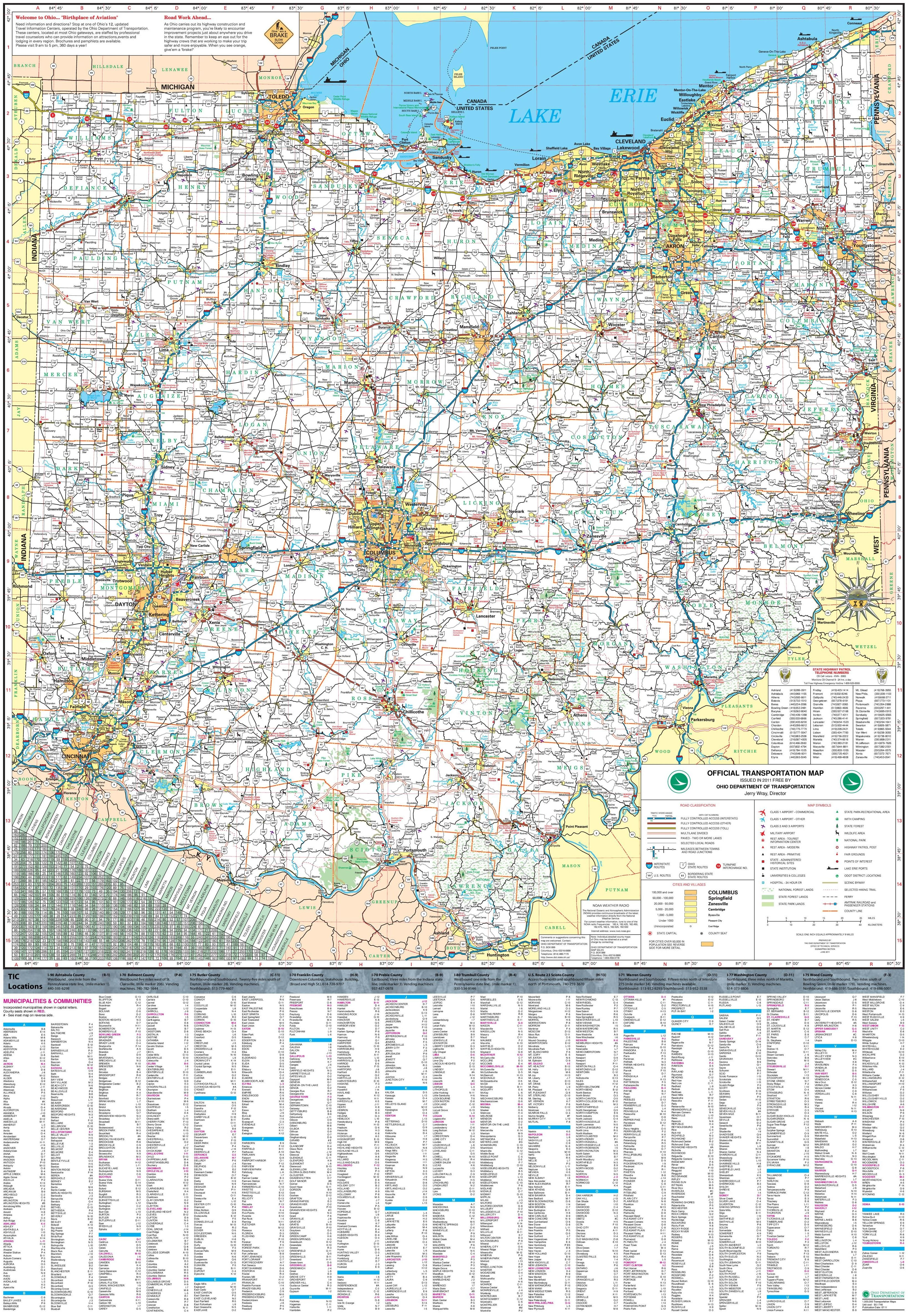Large detailed tourist map of Ohio with cities and towns | Misc