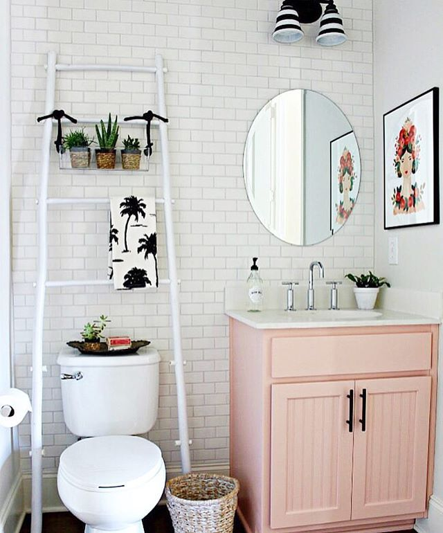How Cute Is This Powder Bathroom Makeover From Ourfifthhouse Everything The Pink Vanity To Tiled Wall What Dreams Are Made