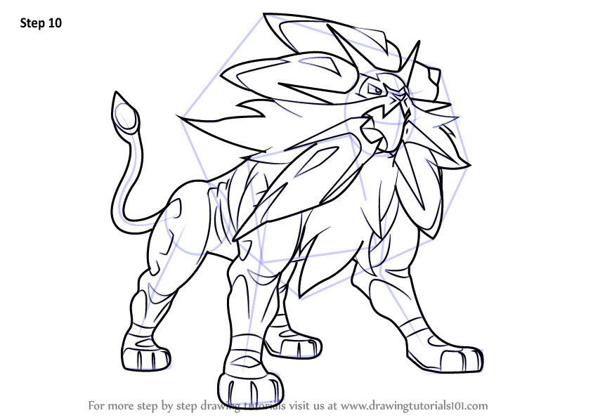 Learn How To Draw Solgaleo From Pokemon Sun And Moon Pokemon Sun And Moon Step By Step Drawing Tutorials In 2020 Pokemon Coloring Pages Pokemon Coloring Drawings