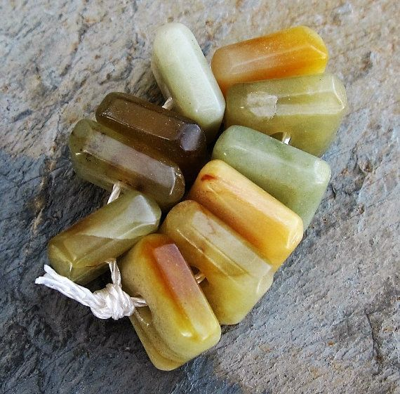 Large Square Serpentine Bead Strand by Ginnywolfcollection on Etsy