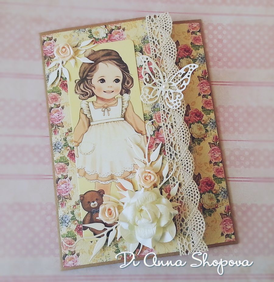 Birthday Girl Card, Shabby Chic Card, Flourish