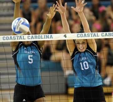 Coastal Carolina S Kindra Bailey Left And Meghan Laffin Center Try To Block A Shot Coastal Carolina Coastal Carolina