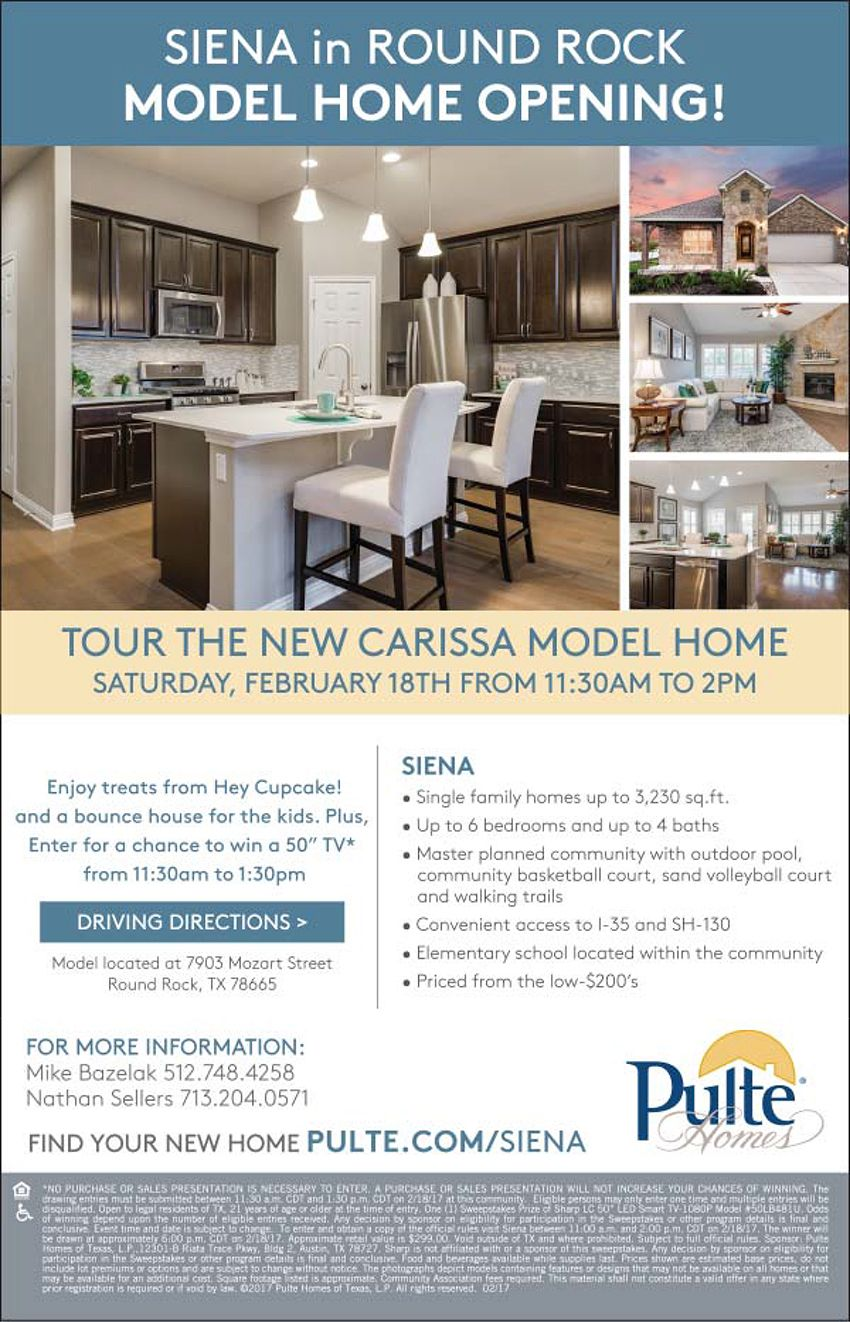 New Homes for Sale in Round Rock, Texas Tour the New Model at the ...