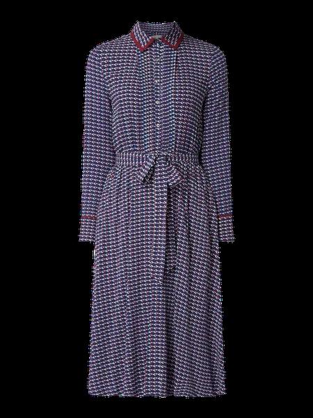 Tommy Hilfiger Blusenkleid Mit Logo Muster Blau