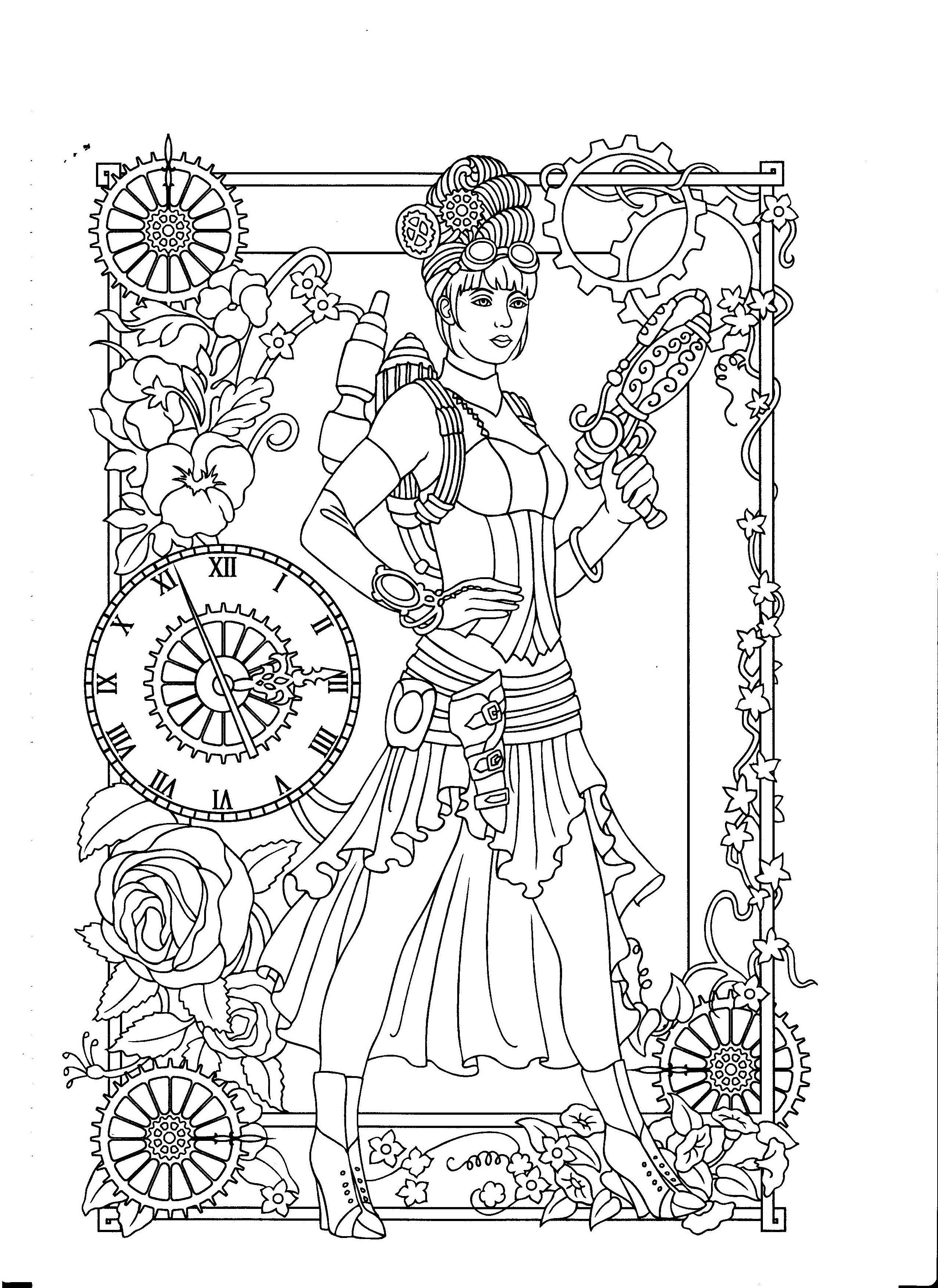 Steampunk Coloring Page Kleurboek Kleurplaten Kleurplaten Voor Volwassenen