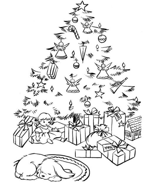 A Christmas Tree In The Garnish With Lots Of Stuffed Toys Coloring Page Printable Christmas Coloring Pages Tree Coloring Page Christmas Tree Coloring Page