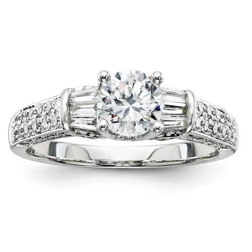 1 1/4 Carat Three Stone Baguette Unique Diamond Filigree Antique Vintage Engagement Ring 14K White Gold (Center Moissanite Included) by LyonsJewelry, $1395.00