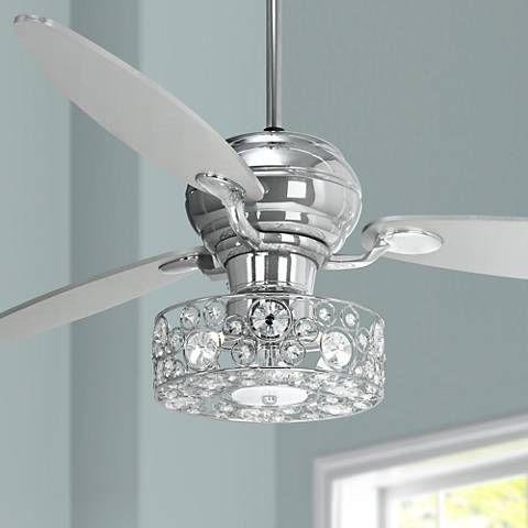 60 Spyder Chrome Ceiling Fan With Crystal Discs Light Kit