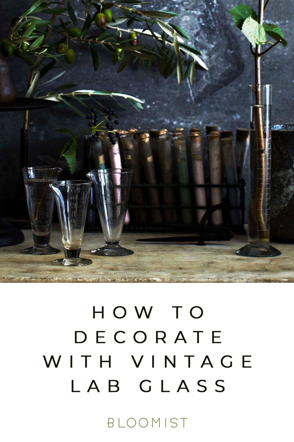 How To Experiment With Vintage Lab Glass With Images Bedroom Plants Glass Glass Cylinder Vases