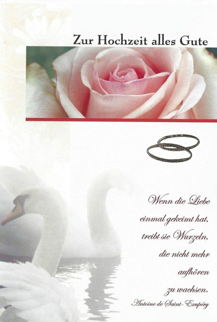 glckwnsche zur hochzeit spruch schwaene rosen eheringe