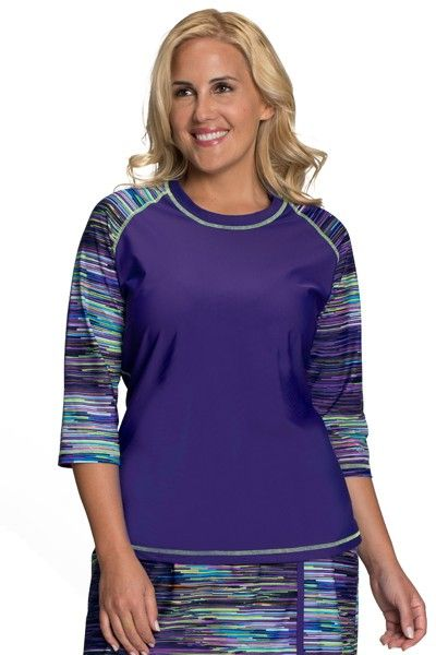 1f7d0ef8f0e Check out our Baseball Babe Inspired Long 3/4 Sleeve Rash Guard Swim Shirt  in our gorgeous new Purple Rain Print - Check out what's new at HydroChic!