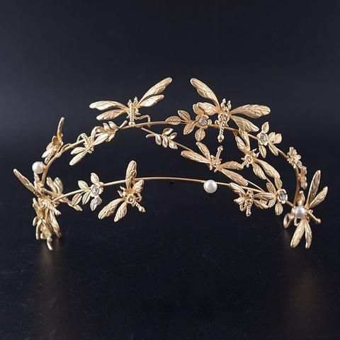 Dragonfly Hairband Tiara Handmade Rhinestone Crown
