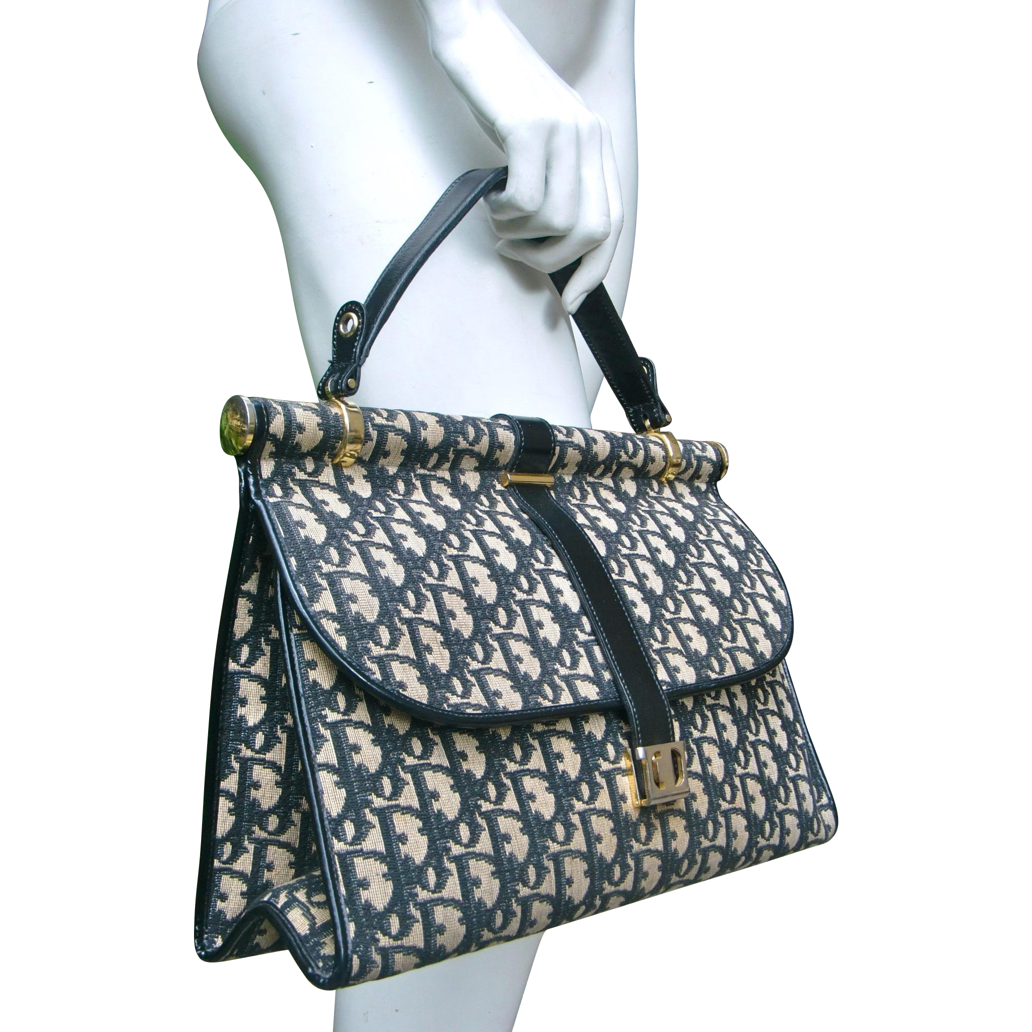 1970 Christian Dior monogrammed fabric handbag  c92fa8be14226