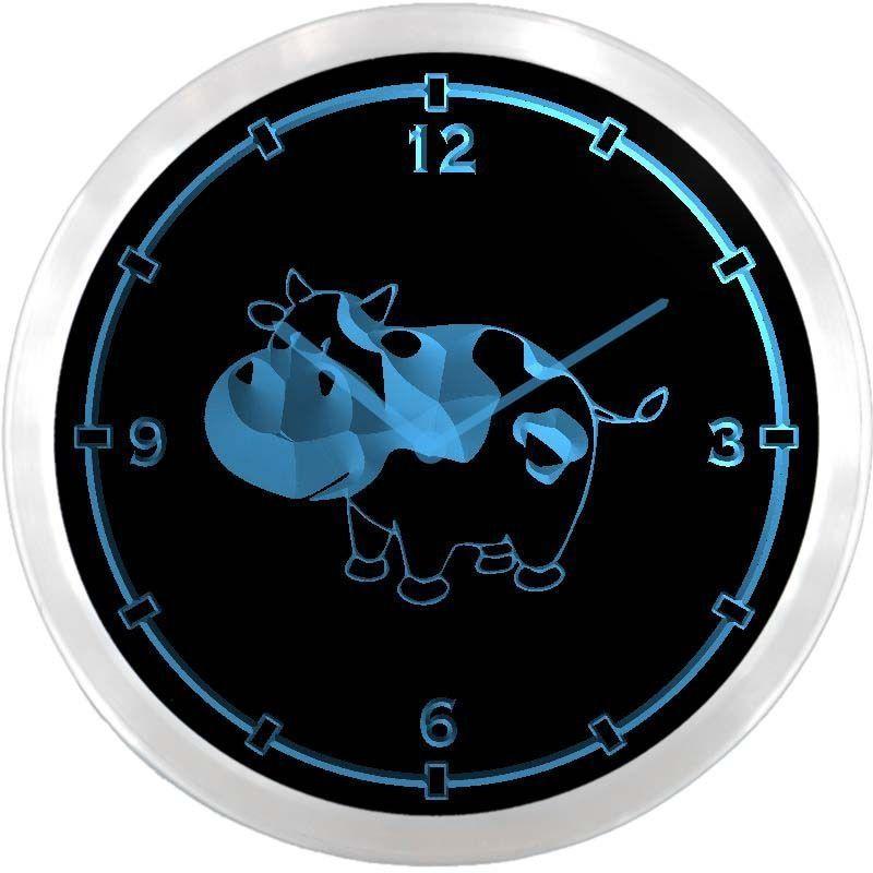Nc0703 B Cow Neon Sign Led Wall Clock Led Wall Clock Clock Neon Signs