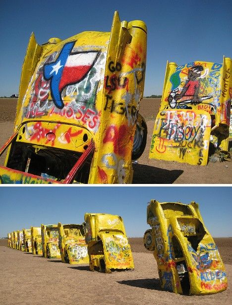 """Cadillac Ranch: """"'Be sure to take your paint spray cans with you,' advises a member of Ant Farm (the artwork's creators), 'as the purpose of this monument is to let the audience participate in it. You can simply write down your name, or if you have an inspiring message, leave it on one of the cars for the other visitors to read or to erase.'"""" —Steve. (Photo: Angel Flores Jr.)"""