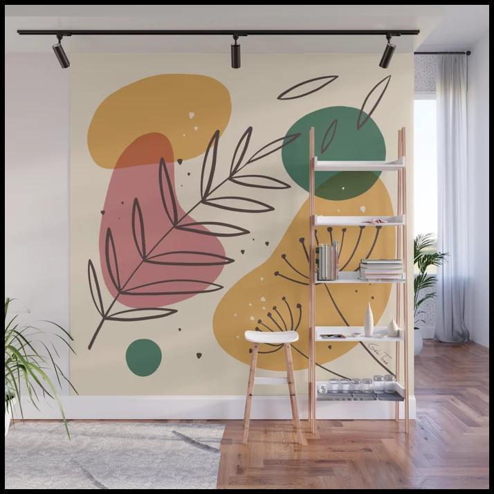 colorful wall mural interior