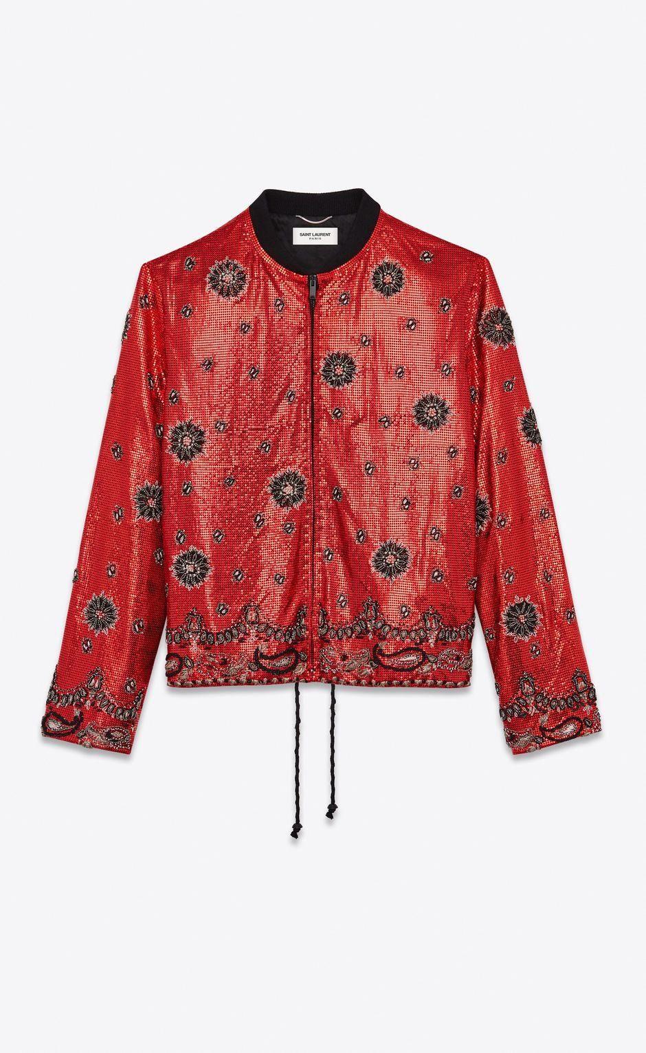 Mesh Varsity Jacket With Bandana Embroidery Front View Leatherjacketsformenbrown Varsity Jacket Women Jackets Gucci Leather Jacket [ 1532 x 940 Pixel ]