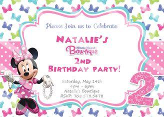 Disney Minnie Mouse Bowtique Birthday Invitations