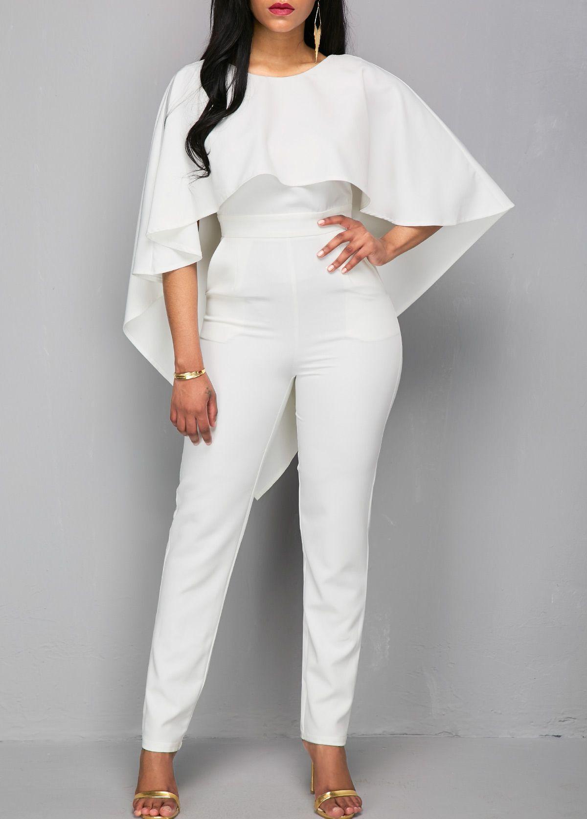 6c7d3aae848 V Back Zipper Closure White Cloak Jumpsuit