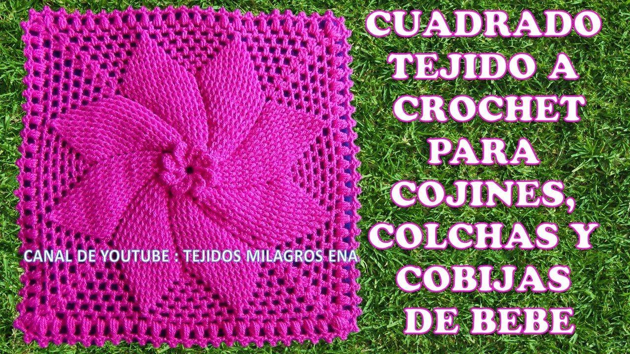 Atractivo Patrón Cuadrado Doble Crochet Festooning - Manta de Tejer ...
