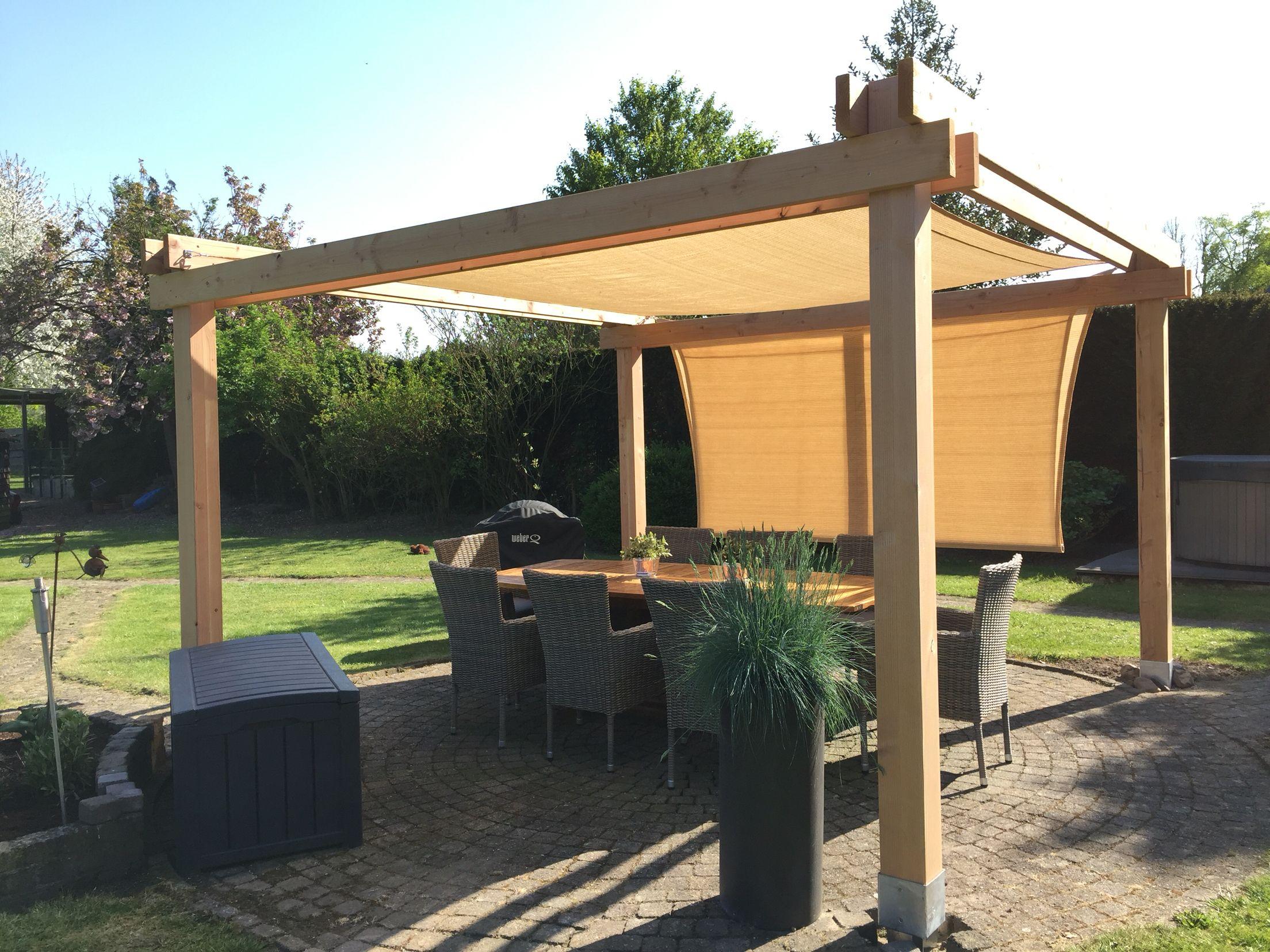 Diy paviljoen pergola schaduwdoek terrasoverkapping met zonnedoek zelf maken outdoor - Dak van pergola ...
