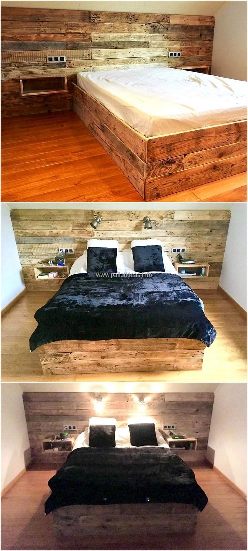 Diy pallet bedroom furniture pallets wooden bed with headboard  house  pinterest  pallets