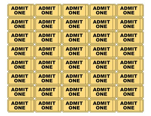 Free Printable Admit One Ticket Templates   Blank Downloadable PDFs  Free Printable Ticket Templates