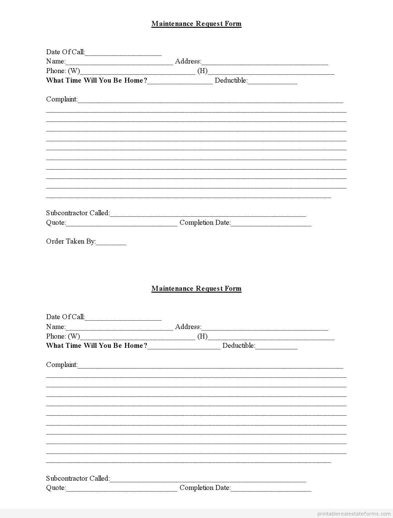 Maintenance Request Form Maintenance Templates