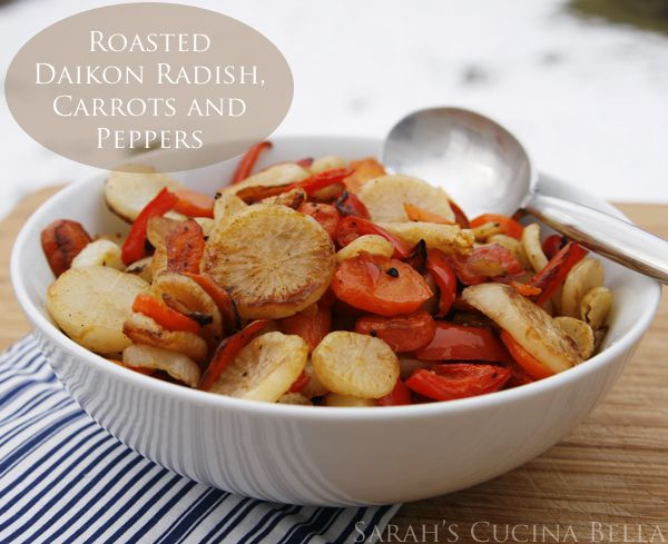 Balsamic Roasted Daikon Radish, Carrots, and Peppers