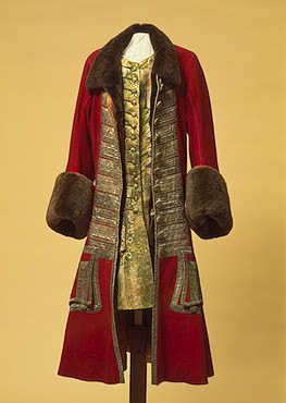 Winter Costum of Peter I   Wardrobe of Peter I   Russia (?). Between 1710 and 1725	  Broadcloth, galloon, beaver fur, damask and wool; l.: caftan 119, camisole 95.5 cm   Source of Entry:   State Museum of Ethnography of the Peoples of the USSR, Leningrad. 1941