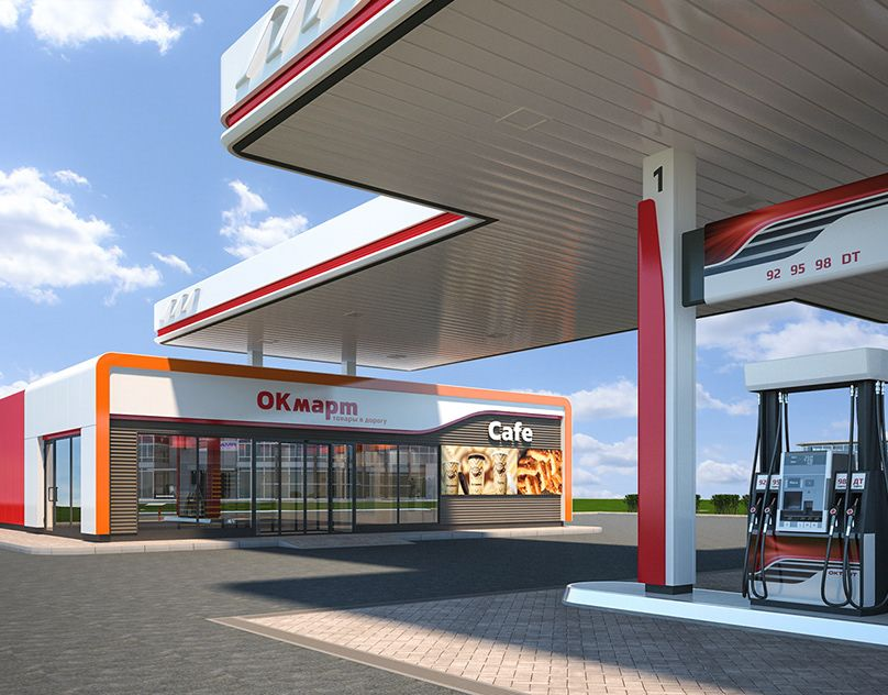 Modern format of automatic filling stations / OILBOX on